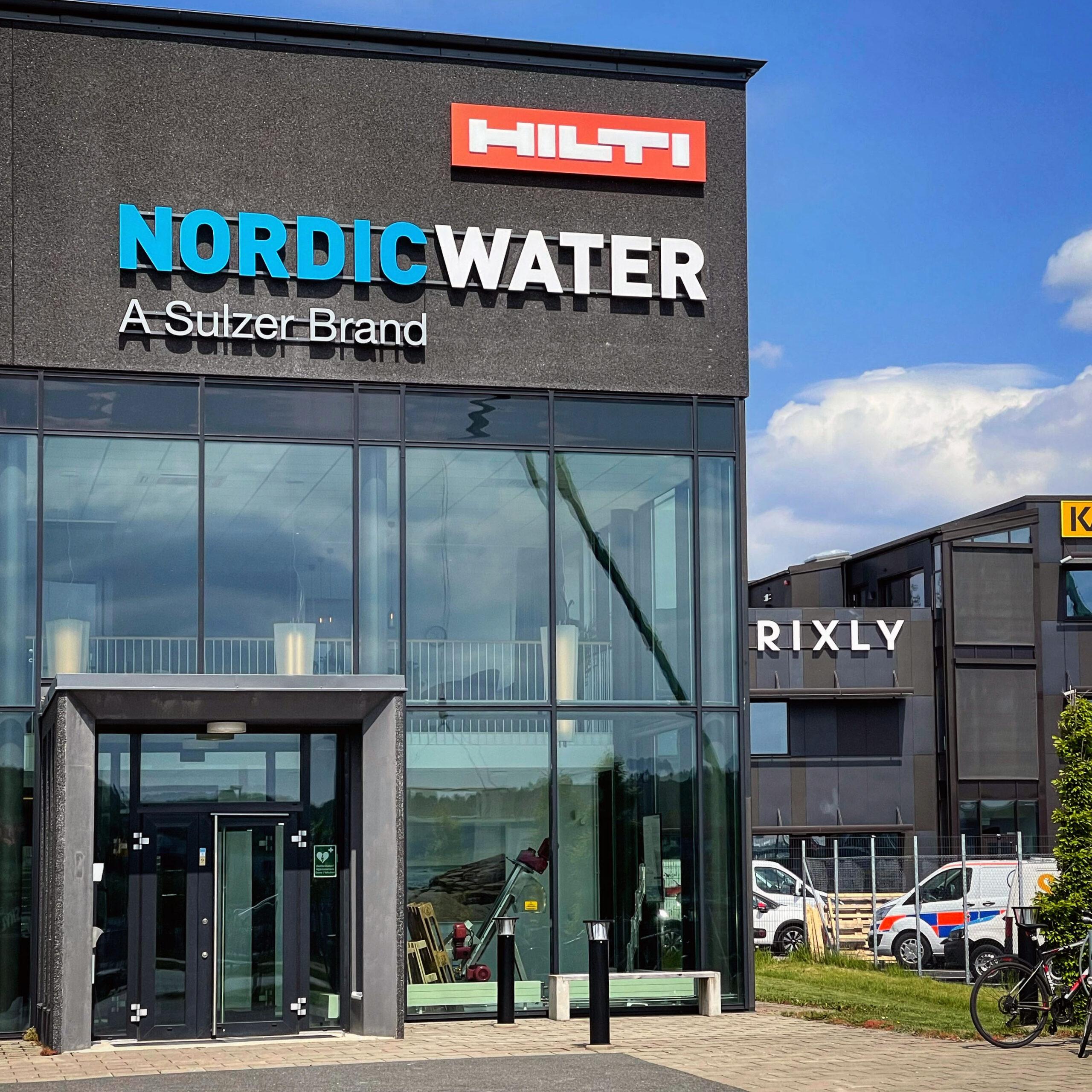Fasadskylt Nordic Water Mölndal LED